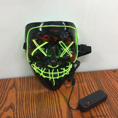 3-Modes Scary Mask Cosplay Led Costume Mask EL Wire Light Up The Purge Movie #~