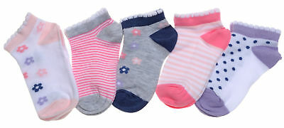 5 pairs of Flowers, Stripes & Spots Girls Trainer socks