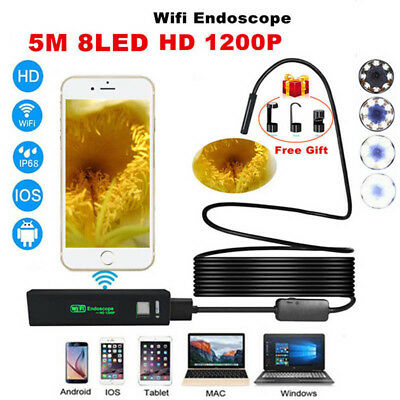 WIFI 8mm IP67 Endoscopes Borescope Snakes Inspection Camera Scope Android iPhone