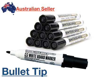 White Board Whiteboard Marker Bullet Medium Round Tip Black Office Teacher Erase