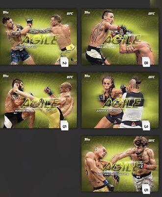 Topps DIGITAL UFC Knockout Agile Insert Drop 2 Yellow Full Set Of 5