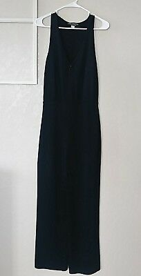 St. John by Marie Gray Size 4 Black Zip Up Pant Suit Romper Jumper Sleeveless