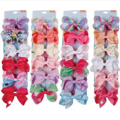 6pcs/card 4'' Hair bows for girls kids grosgrain ribbon rhinestone hair clips UK