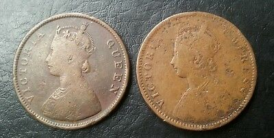 1862-1877 British India 1/2 Half Anna Victoria Queen & Empress Lot Of 2 Coins