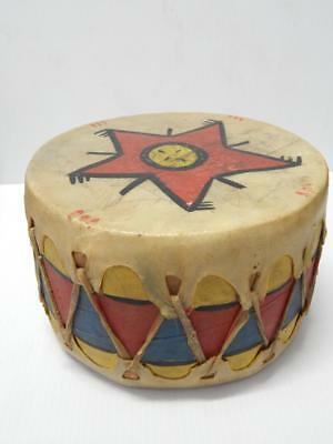 Old Cochiti Pueblo Kachina Wood Drum Painted Hide Head - Xlnt Color + Designn