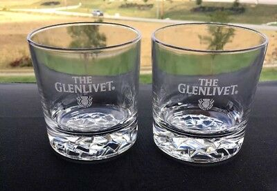 Pair of The Glenlivet, Thick Ice Crystal Style Base, Rocks Glasses, Tumblers EUC