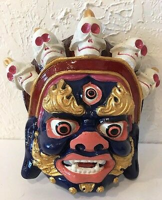 Mongolian Traditional Tsam Ceremony Dancing head MASK w/ SKULLS Hand Made