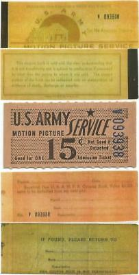 Pre 1948 Nice 15¢ ADMISSION TICKET or CHIT From U.S. ARMY MOTION PICTURE SERVICE