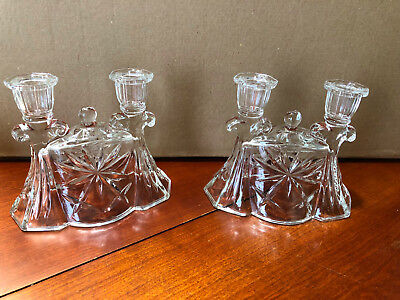 Vintage/Antique Glass 2-candle Candle Holders - A Pair - Unusual