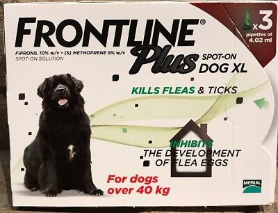 Frontline Plus For XL DOGS 89-132lbs (40-60kg)~ 3 Month Supply ~New! US Shipper
