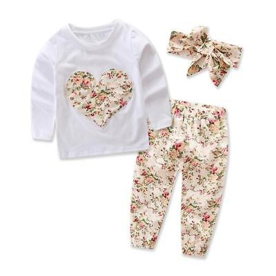 Girls Floral Heart Shape 3 Piece Outfit Baby Girls Tight Band