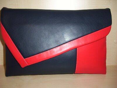 OVER SIZED black white and red faux leather  clutch bag lined BN .UK made