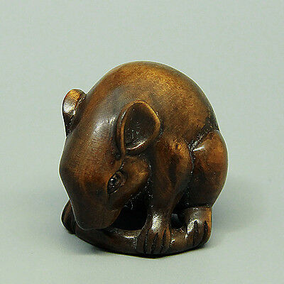 "1940's Japanese handmade Boxwood Wood Netsuke ""Cute Rat Mouse"" Figurine Carving"