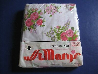 VINTAGE 70s NIP ST MARY'S ROSE BOUQUET FLORAL FULL FITTED SHEET