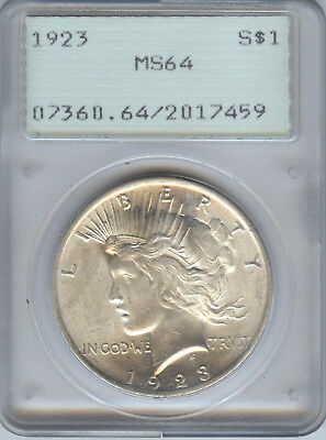 1923 PEACE DOLLAR PCGS MS64 in OLD GREEN RATTLER HOLDER  - INVEST IN SILVER!