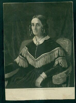 """1850's First Lady """"Mrs. James Polk"""" J. Sartain Engraving from Daguerreotype"""