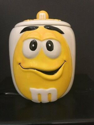 Galerie Vintage Yellow M&M Ceramic Cookie Candy Snack Jar Canister EUC