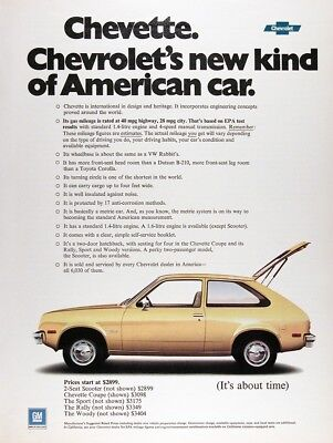 1976 CHEVROLET CHEVETTE COUPE Lot of (3) Genuine Vintage Ads ~ MSRP $3,098