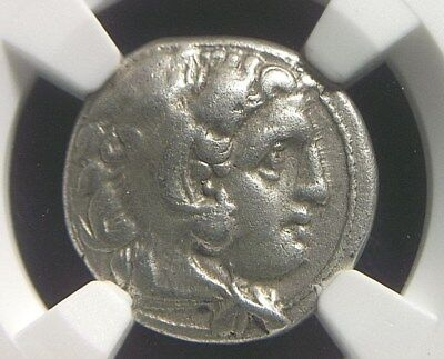 Silver Drachm of Alexander III the Great, 336-323 BC NGC Ch VF  9016