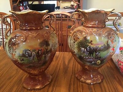 Vintage Antique Pair Of English Hand Painted Mantle Vases With Horses
