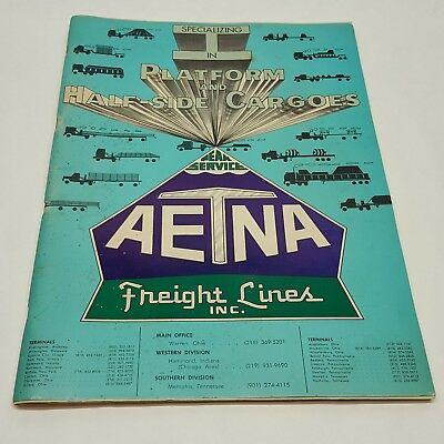 "AETNA Freight Lines 1971 Vintage Rand McNally Road Map Atlas US Large 15"" x 11"""
