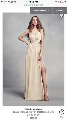 0f08569b3a90 Vera Wang Bridesmaid Dress Charmeuse And Chiffon VW360345 Champage Size 0