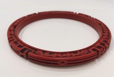 Vintage Chinese Cinnabar Bangle Bracelet- Carved Red Cinnabar Bangle