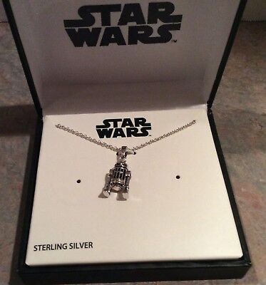 Star Wars R2-D2 Sterling Silver Pendant Necklace - Disney - NIB