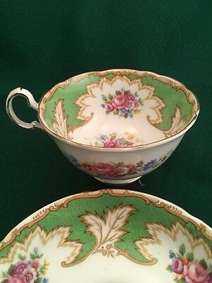 Royal Grafton Academy Tea Cup & Saucer Green Gold Roses