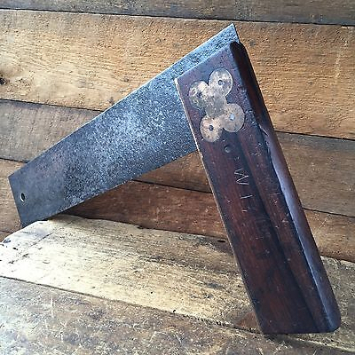 "Vintage HENRY DISSTON No:5 14"" Rosewood SQUARE Old Antique Marking Hand Tool #61"