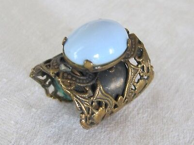 F10 Vintage Victorian Gold Tone Cabochon Blue Milk Glass Adjustable Cuff Ring
