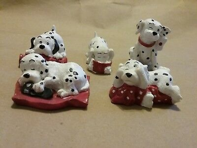 """Lot of 5 Dalmatians Figurines Eating, Sleeping and Playing Approx 2"""""""