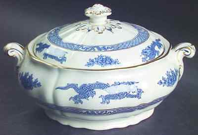 Booths DRAGON BLUE Round Covered Vegetable Bowl 38112