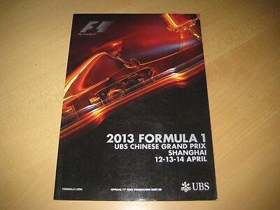 Rennprogramm GP China, Shanghai 2013 Formula 1, Official Programme