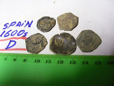 Lot of 5 genuine Spain  mid-1600s coins ,bronze..hand-struck,not machine made(D)