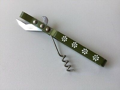 Vintage TRAVCO Avocado Green Daisy Opener and Corkscrew can  / bottle opener