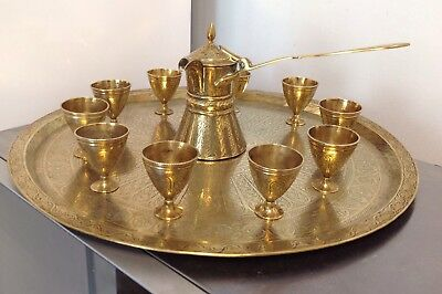 STUNNING ANTIQUE PERSIAN TURKISH Engraved Ornate BRASS COFFEE POT Tray & 10 CUPS