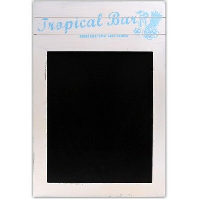 TROPICAL BAR SHABBY SHIC CHALK BOARD White Wood Kitchen Cafe Bistro Menu Notice