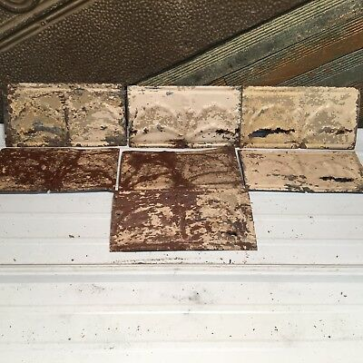 "7pc Lot of 12"" by 7"" Antique Ceiling Tin Vintage Reclaimed Salvage Art Craft"