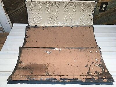 "3pc Lot of 32"" by 14"" Antique Ceiling Tin Vintage Reclaimed Salvage Art Craft"