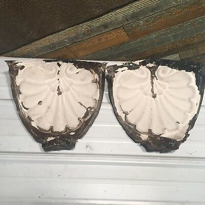 "2pc Set matching corners 10"" Antique Ceiling Tin Vintage Reclaimed Salvage Art"
