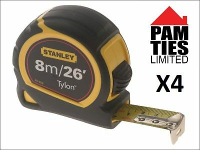 4 X Stanley Pocket Tape 8m/26ft 25mm 0-30-656 STA030656N