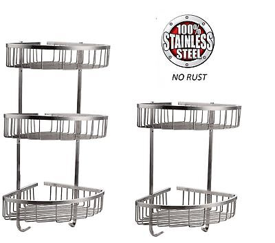 Stainless Steel Shower Caddy 100% Rust Free Bathroom Shelf Corner Organizer