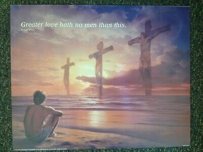 """Religious Poster- GREATER LOVE HATH NO MEN THAN THIS 20"""" X 16""""- PRE-OWNED"""