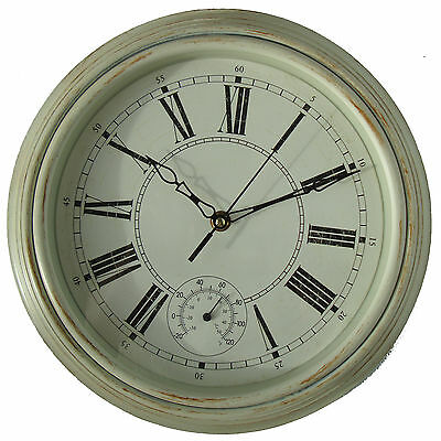 Vintage Style Shabby Chic Cream Thermometer Wall Clock - New