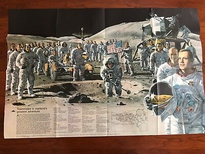 Vintage National Geographic 1969 Map Earth's Moon + Bonus 1973 Apollo NASA Map
