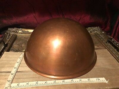 "Vintage Douro Solid Copper Egg White Mixing Bowl w/ Brass Ring 10 1/2""x4 5/8"""
