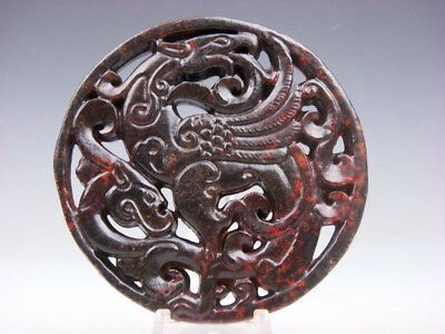 Old Nephrite Jade Stone 2 Sides Carved LARGE Pendant Dancing Phoenix #09301802