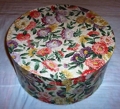 """Vintage Round Hat Box - Crysthanamum Flower - 16"""" with Carry Cord"""
