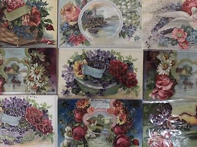 Nice~Lot of 9 Fancy Doves~Birds~Roses~Flowers~Victorian Greetings Postcards-h137